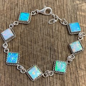 Jewelry - 925 Sterling Blue/White Simulated Opal Bracelet
